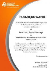 Podziękowanie dla negocjatora Pawła Gołembiewskiego od Akademickich Inkubatorów Przedsiębiorczości SGGW