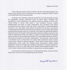 Referencje negocjatora Pawła Gołembiewskiego od Krzysztofa Kowalskiego
