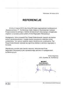 Referencje negocjatora Pawła Gołembiewskiego od KSI Warszawa