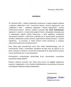 Referencje negocjatora Pawła Gołembiewskiego od Małgorzaty Kordek