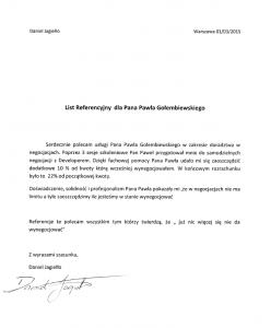 Referencje negocjatora Pawła Gołembiewskiego od Daniela Jagiełły
