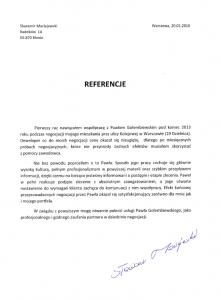 Referencje negocjatora Pawła Gołembiewskiego od Sławomira Maciejewskiego
