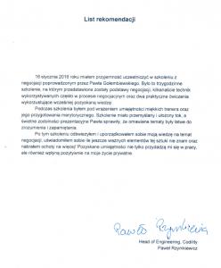 List rekomendacji dla negocjatora Pawła Gołembiewskiego od Pawła Rzymkiewicza