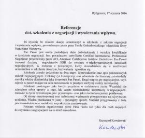 Referencje negocjatora Pawła Gołembiewskiego od Krzysztofa Kowalewskiego