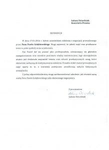 Referencje negocjatora Pawła Gołembiewskiego od Łukasza Dziurdziaka
