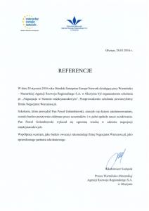 Referencje negocjatora Pawła Gołembiewskiego od Enterprise Europe Network