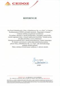 Referencje negocjatora Pawła Gołembiewskiego od Cedoz