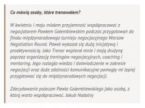 Referencje negocjatora Pawła Gołembiewskiego od Jakuba Nadolnego