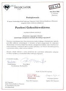 Podziękowanie dla negocjatora Pawła Gołembiewskiego od Studenckiego Koła Naukowego Negocjator SGH