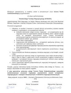 Referencje negocjatora Pawła Gołembiewskiego od Studenckiego Koła Naukowego Negocjator SGH