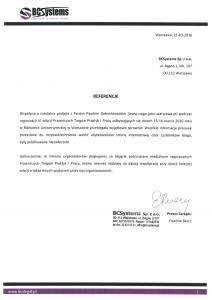 Referencje negocjatora Pawła Gołembiewskiego od BCSystems Sp. z o. o.