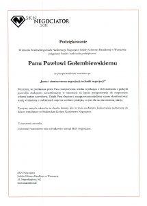 Podziękowanie dla negocjatora Pawła Gołembiewskiego od SKN Negocjator