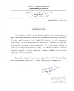 Referencje negocjatora Pawła Gołembiewskiego od Magdaleny Kupczyk-Czerniawskiej
