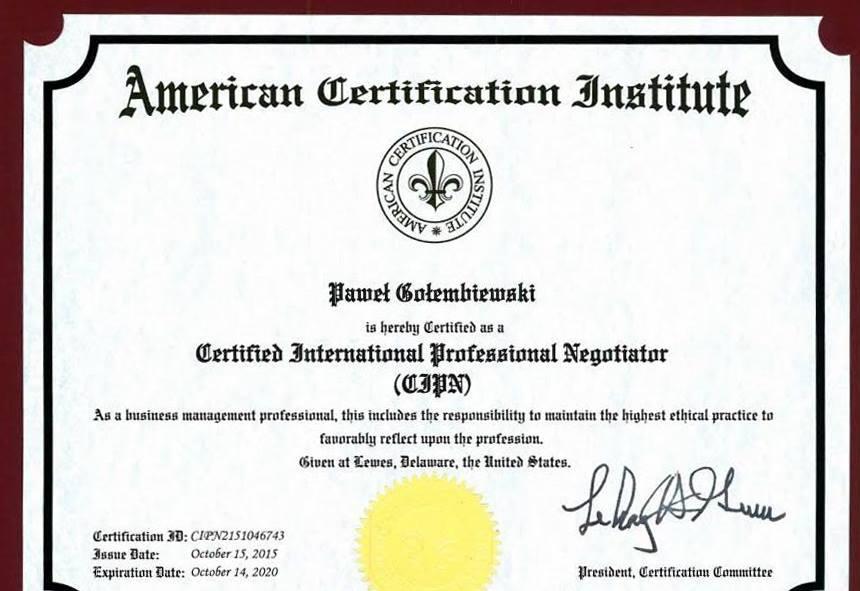 Certyfikat negocjatora Pawła Gołembiewskiego - American Certification Institute